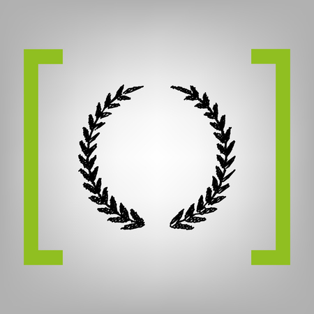 Laurel Wreath sign. Vector. Black scribble icon in citron brackets on grayish background. Illustration