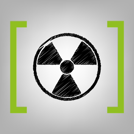 Radiation Round sign vector black scribble icon in citron brackets on grayish background.