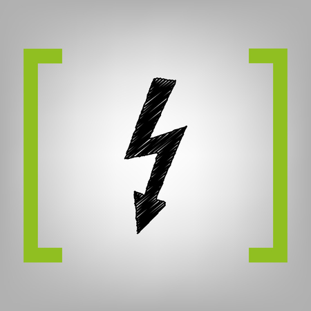 High voltage danger sign. Vector. Black scribble icon in citron brackets on grayish background. Stock Photo