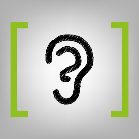Signo de oído humano. Vector. Icono de garabato negro en corchetes citron sobre fondo grisáceo. Foto de archivo - 74899547