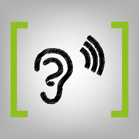 Anatomía Humana. Señal De Oído Con Onda De Sonido. Ilustraciones ...