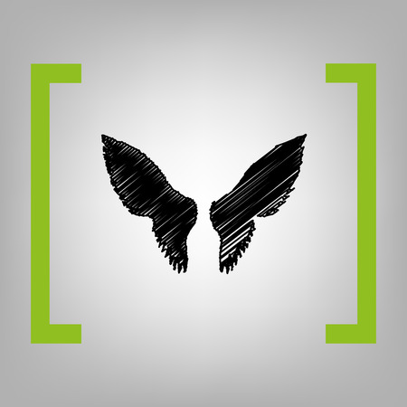 Wings sign illustration. Vector. Black scribble icon in citron brackets on grayish background.