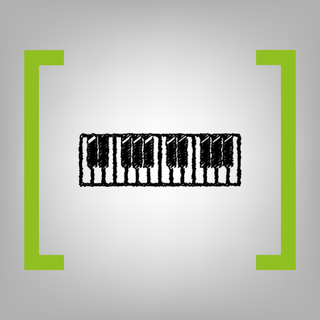 Piano Keyboard sign. Vector. Black scribble icon in citron brackets on grayish background. Illustration