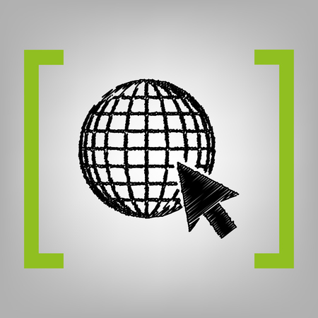 Earth globe with cursor Vector black scribble icon in citron brackets on grayish background.