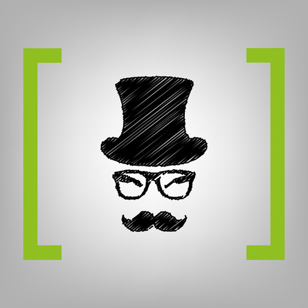 Hipster accessories design vector black scribble icon in citron brackets on grayish background. Illustration