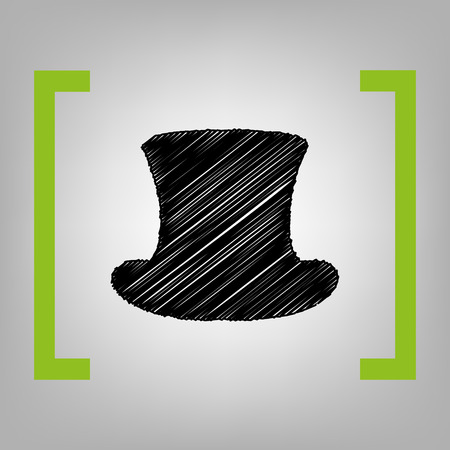 Top hat sign. Vector. Black scribble icon in citron brackets on grayish background.