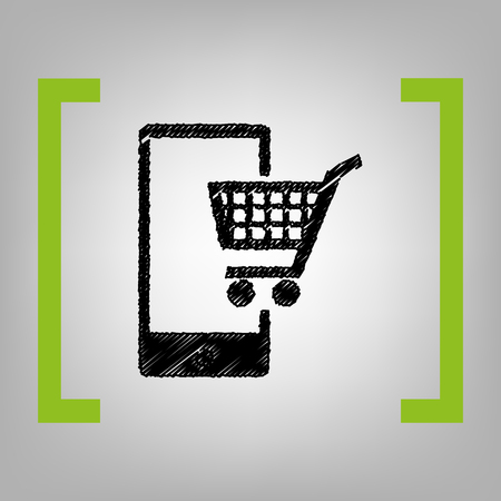 ful: Shopping on smart phone sign. Vector. Black scribble icon in citron brackets on grayish background.
