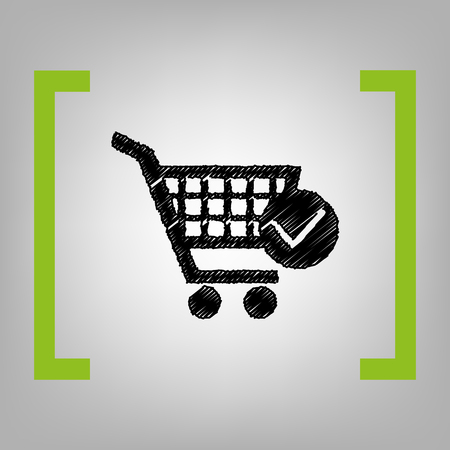 ful: Shopping cart with check mark sign Vector black scribble icon in citron brackets on grayish background.