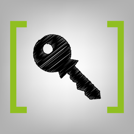 tool unlock: Key sign illustration. Vector. Black scribble icon in citron brackets on grayish background.