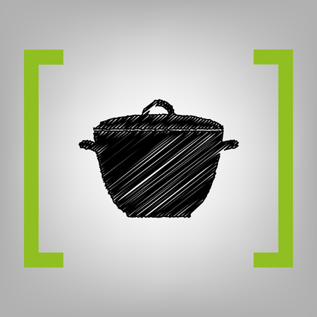 Saucepan simple sign. Vector. Black scribble icon in citron brackets on grayish background. Illustration