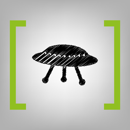 UFO simple sign. Vector. Black scribble icon in citron brackets on grayish background.