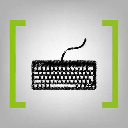 put the key: Keyboard simple sign. Vector. Black scribble icon in citron brackets on grayish background. Illustration