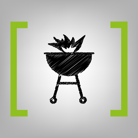 Barbecue with fire sign. Vector. Black scribble icon in citron brackets on grayish background. Illustration