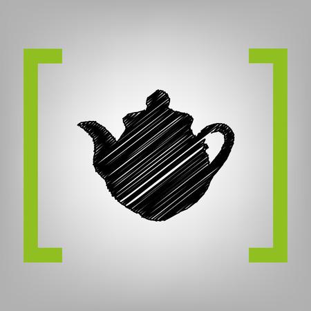 black appliances: Tea maker Kitchen sign. Vector. Black scribble icon in citron brackets on grayish background.