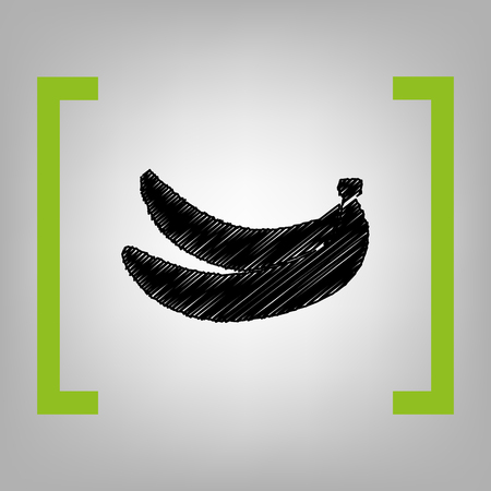 Banana simple sign. Vector. Black scribble icon in citron brackets on grayish background. Illustration
