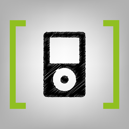 mp: Portable music device. Vector. Black scribble icon in citron brackets on grayish background.