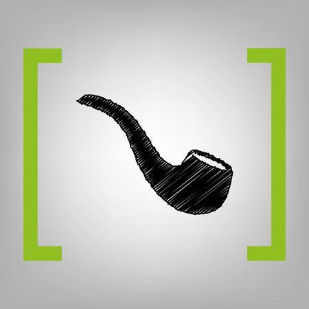 Smoke pipe sign. Vector. Black scribble icon in citron brackets on grayish background.