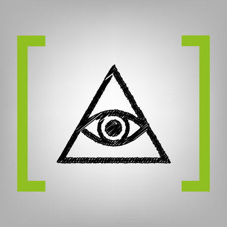 new world order: All seeing eye pyramid symbol. Freemason and spiritual. Vector. Black scribble icon in citron brackets on grayish background.