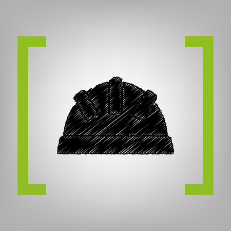 architect tools: Baby sign illustration. Vector. Black scribble icon in citron brackets on grayish background.