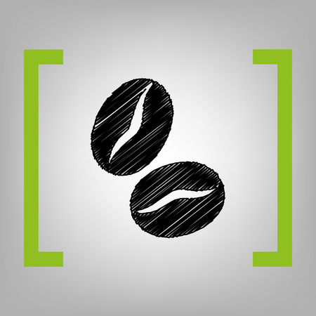 Coffee beans sign. Vector. Black scribble icon in citron brackets on grayish background.
