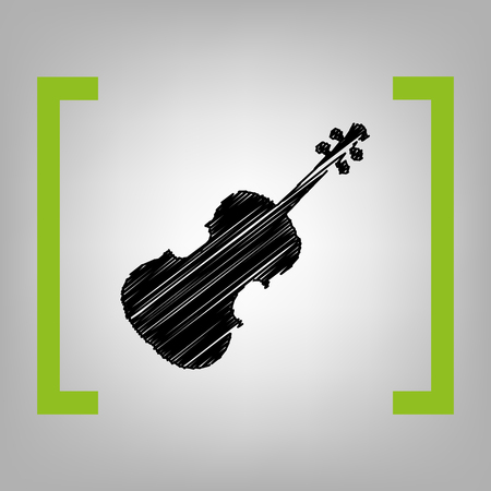 cellos: Violine sign illustration. Vector. Black scribble icon in citron brackets on grayish background. Illustration