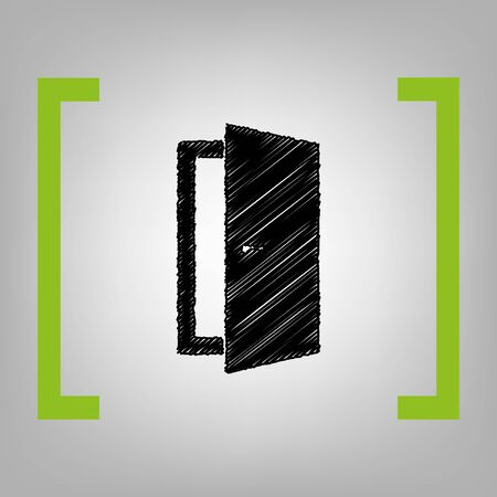 door knob: Door sign illustration. Vector. Black scribble icon in citron brackets on grayish background.