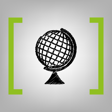 Earth Globe sign. Vector. Black scribble icon in citron brackets on grayish background. Illustration