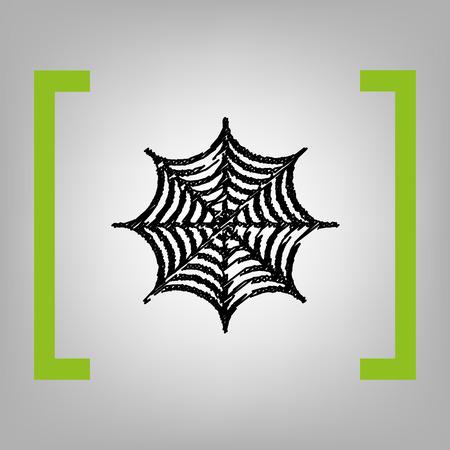 Spider op web illustratie. Vector. Zwart scribble icoon in citroenhaken op grijze achtergrond. Stock Illustratie