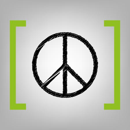 Illustrazione del segno di pace Vettore. Icona di scarabocchio nero tra parentesi di cedro su sfondo grigio.