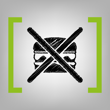 No burger sign. Vector. Black scribble icon in citron brackets on grayish background. Illustration