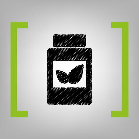 doctor tablet: Supplements container sign. Vector. Black scribble icon in citron brackets on grayish background.