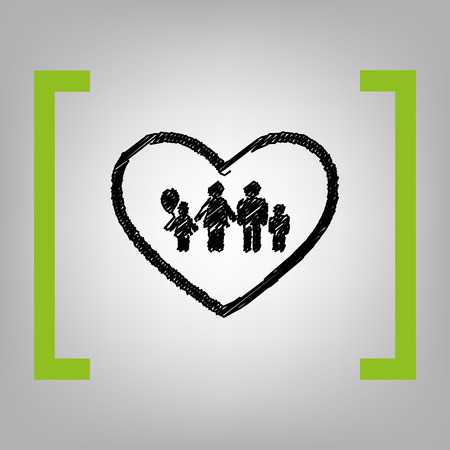 siloette: Family sign illustration in heart shape. Vector. Black scribble icon in citron brackets on grayish background.