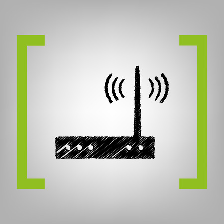 Wifi modem sign. Vector. Black scribble icon in citron brackets on grayish background. Иллюстрация