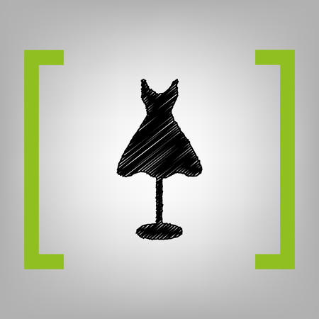 Mannequin with dress sign. Vector. Black scribble icon in citron brackets on grayish background. Illustration