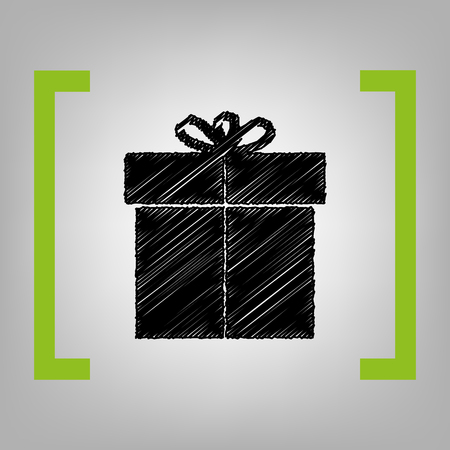 giftware: Gift sign. Vector. Black scribble icon in citron brackets on grayish background.
