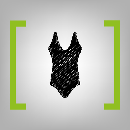 Woman`s swimsuit sign. Vector. Black scribble icon in citron brackets on grayish background.