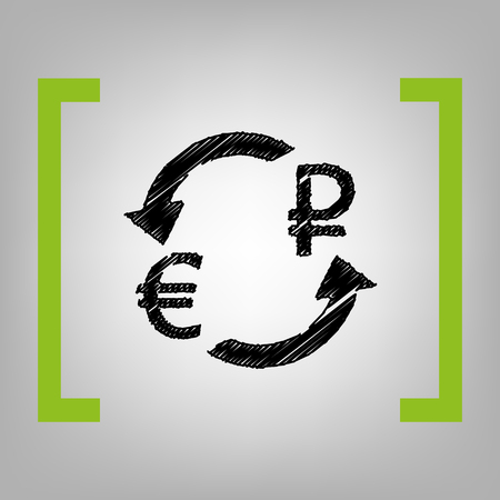 rouble: Currency exchange sign. Euro and Russia Rouble. Vector. Black scribble icon in citron brackets on grayish background.