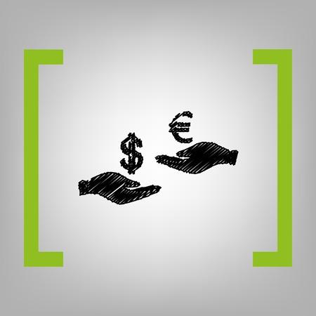 Valutawissel van hand tot hand. Dollar en Euro. Vector. Zwart gekrabbelpictogram in citronsteunen op grijsachtige achtergrond. Stock Illustratie