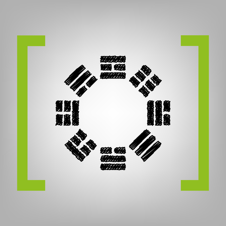 taijitu: Bagua sign. Vector. Black scribble icon in citron brackets on grayish background.