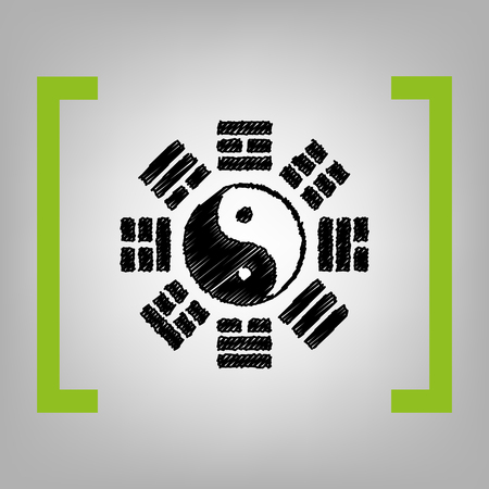 taijitu: Yin and yang sign with bagua arrangement. Vector. Black scribble icon in citron brackets on grayish background. Illustration