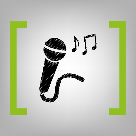 amplification: Microphone sign with music notes. Vector. Black scribble icon in citron brackets on grayish background. Illustration