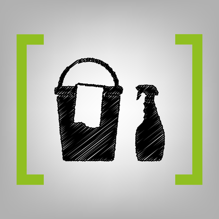 cleaning service: Bucket and a rag with Household chemical bottles. Vector. Black scribble icon in citron brackets on grayish background.