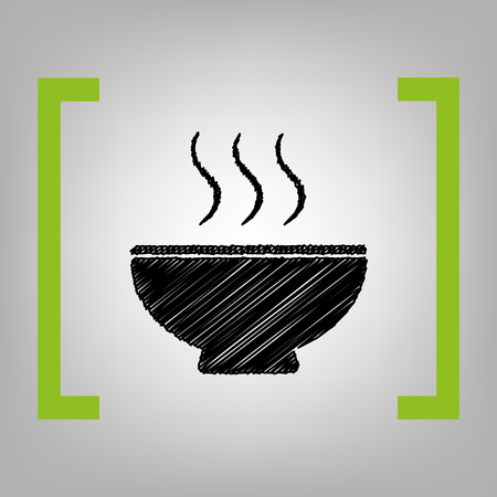 gastro: Soup sign. Vector. Black scribble icon in citron brackets on grayish background.