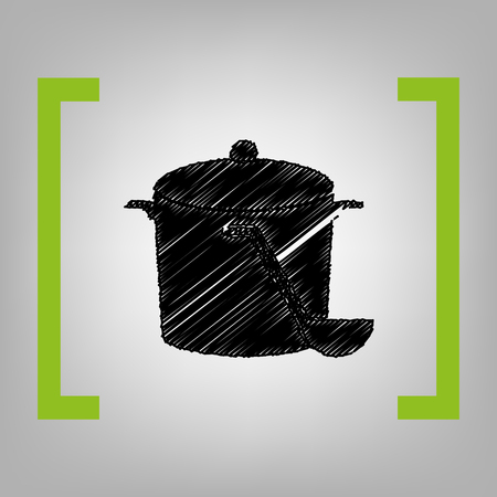 Pan with steam sign. Vector. Black scribble icon in citron brackets on grayish background.