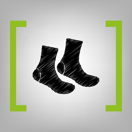 massage symbol: Socks sign. Vector. Black scribble icon in citron brackets on grayish background. Illustration