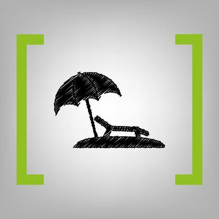 brolly: Tropical resort beach. Sunbed Chair sign. Vector. Black scribble icon in citron brackets on grayish background. Illustration