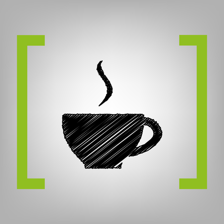 Cup of coffee sign. Vector. Black scribble icon in citron brackets on grayish background.