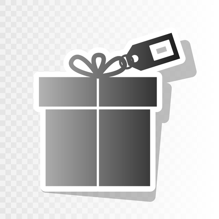 giftware: Gift sign with tag. Vector. New year blackish icon on transparent background with transition.