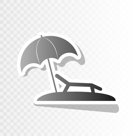brolly: Tropical resort beach. Sunbed Chair sign. Vector. New year blackish icon on transparent background with transition.