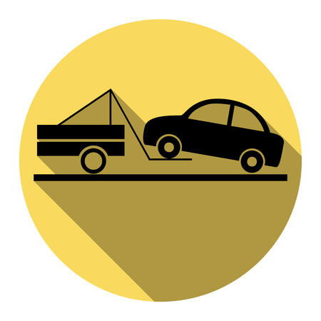 Tow truck sign. Vector. Flat black icon with flat shadow on royal yellow circle with white background. Isolated. Illustration